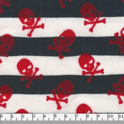 Tissu jersey rayé bleu et blanc toxique velours rouge  95%co