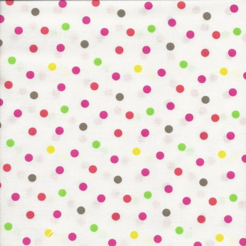 Tissu pois multicolore fond blanc