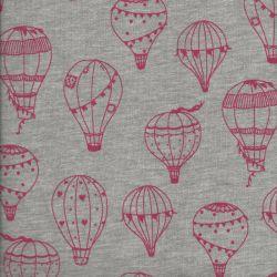 Tissu sweat léger montgolfières roses fond gris Poppy