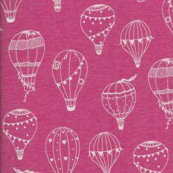 Tissu sweat léger montgolfières blanches fond rose Poppy