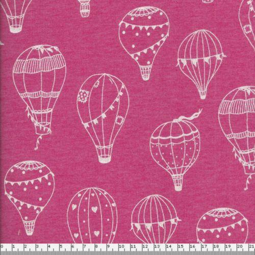Tissu sweat tout doux montgolfières blanches fond rose Poppy