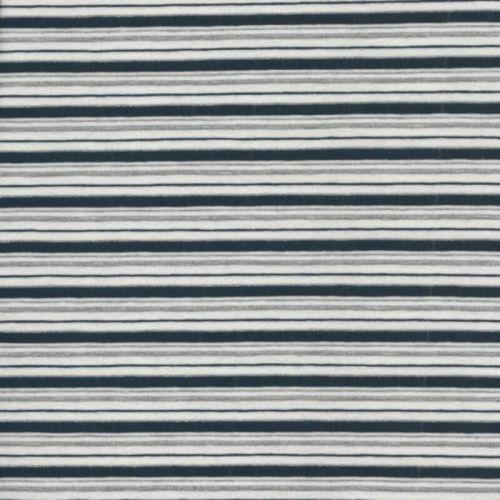 Tissu jersey  marinière blanc et bleu fine rayure lurex argent