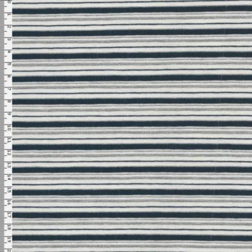 Tissu Jersey marinière blanc/bleu lurex argent
