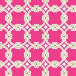 Tissu graphique rose fond beige