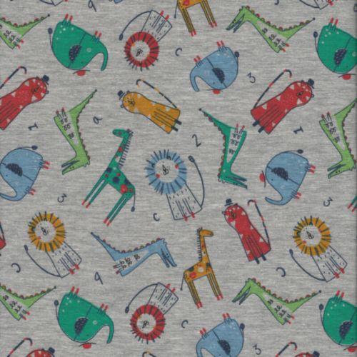 Tissu jersey Poppy little zoo fond gris