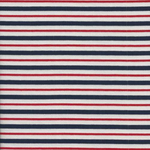 Tissu jersey épais marinière frenchy blanche 95%cot/5%el lar