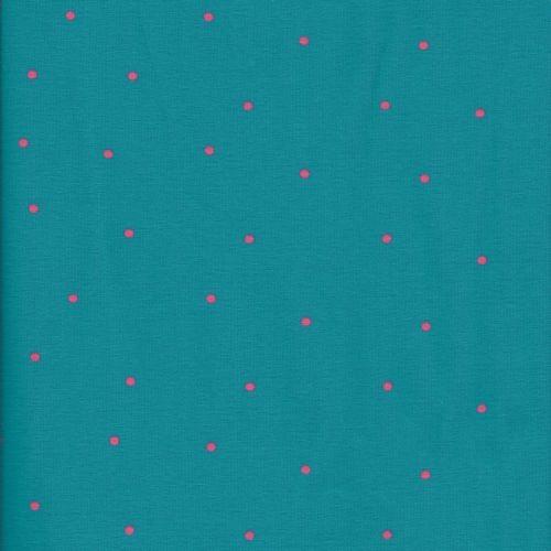 Tissu jersey pois rose fond bleu turquoise 100 % cot larg 15