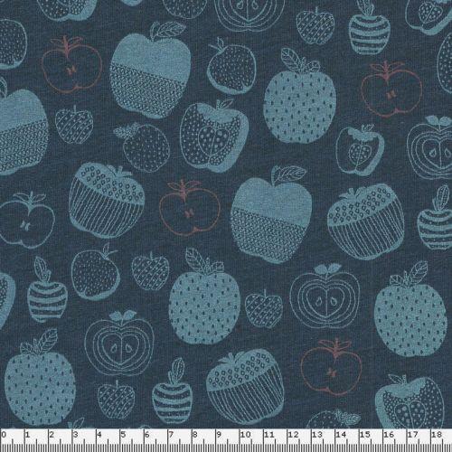 Tissu jersey épais pommes fond bleu 65%cot/35%pol