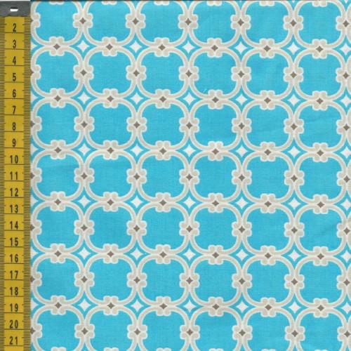 Tissu graphique bleu turquoise fond beige