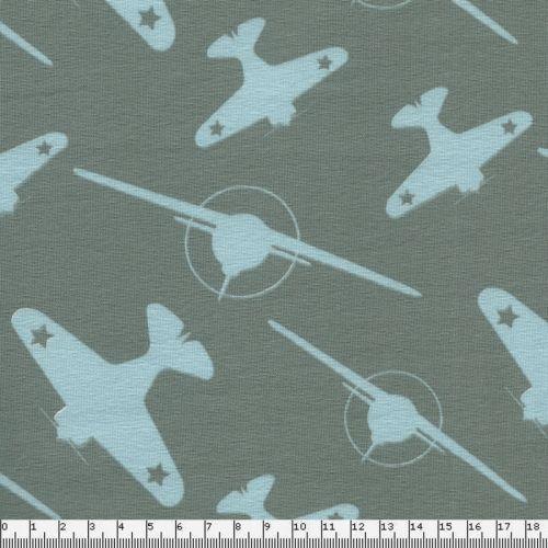 Tissu jersey avions fond gris vert