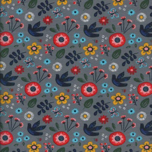 Tissu jersey épais peace flower fond gris 95%cot/5%sp
