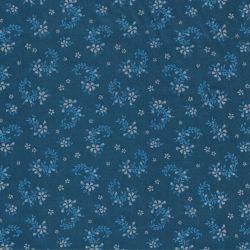 Tissu satin fleurs bleues et grises fond bleu pétrole 100% c
