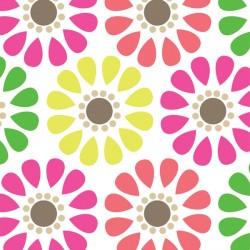 Tissu fleuri fond blanc