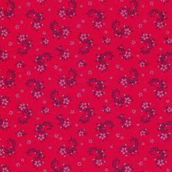 Tissu satin fleurs bleues fond rouge 100% coton larg 140 cm