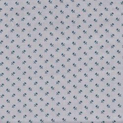 Tissu coton popeline satiné fleurs marine fond gris
