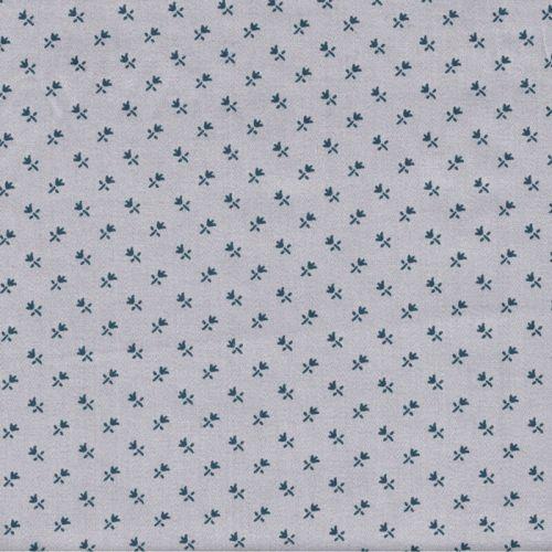 Tissu satin fleurs marine fond gris 100% coton larg 140 cm