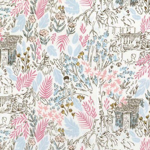 Tissu 100% coton Michael Miller peter pan rose larg 110 cm