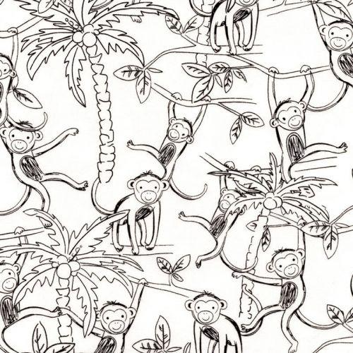 Tissu jersey magique singes 96%cot/4%el larg 145 cm