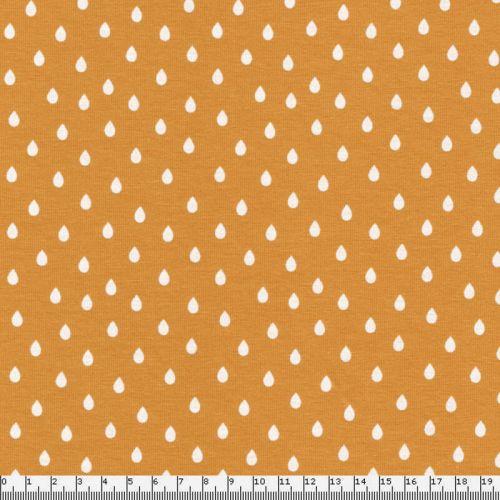 Tissu jersey gouttes fd jaune 95%cot/5%el larg 150 cm