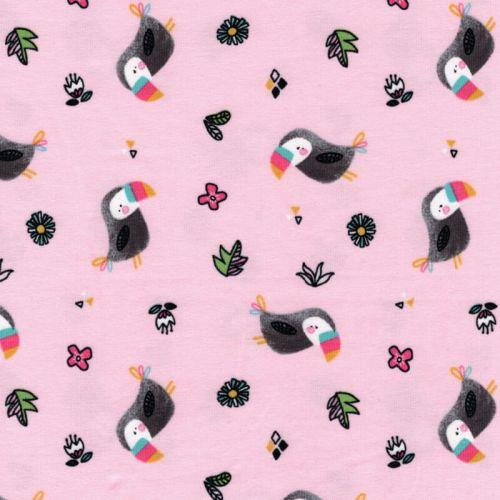 Tissu jersey toucans fond rose