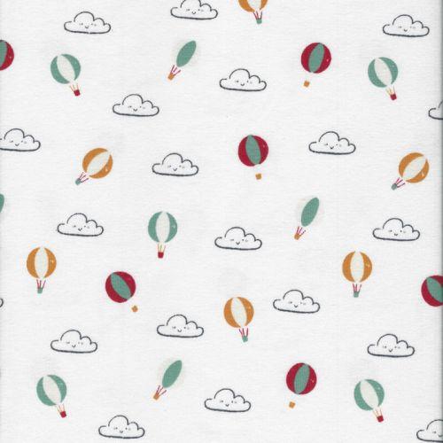 Tissu jersey mongolfières et nuages