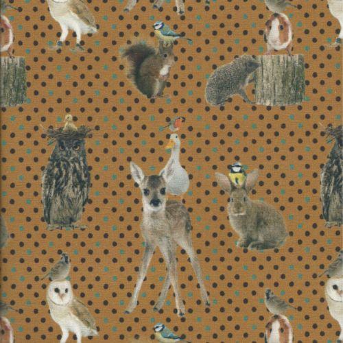 Tissu jersey animaux forêt pois fond jaune impression digitale