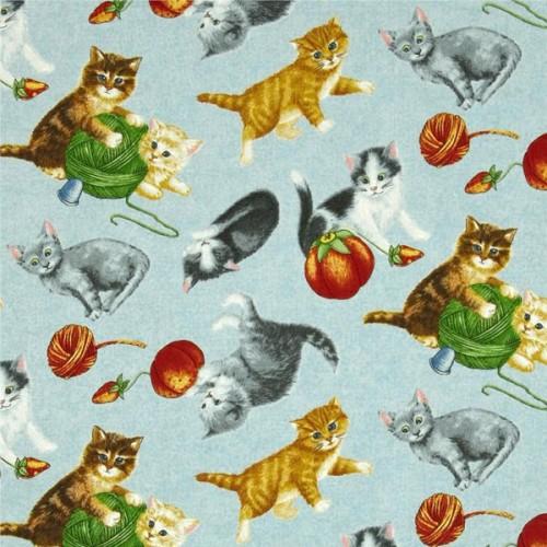 Tissu patch chatons fond bleu RJR