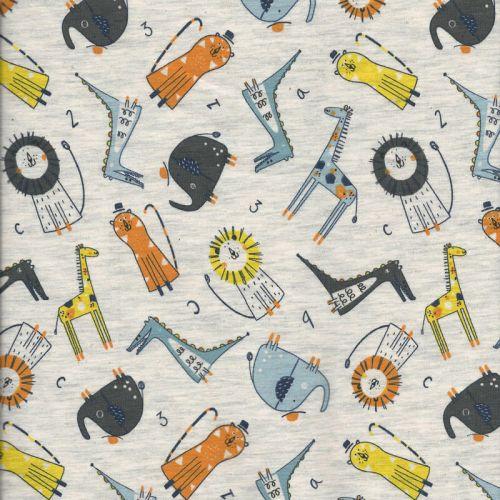 Tissu jersey Poppy little zoo 60%cot/35%pl/5%el larg 150 cm