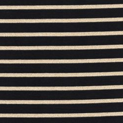 Tissu jersey marinière st Armel noir et or