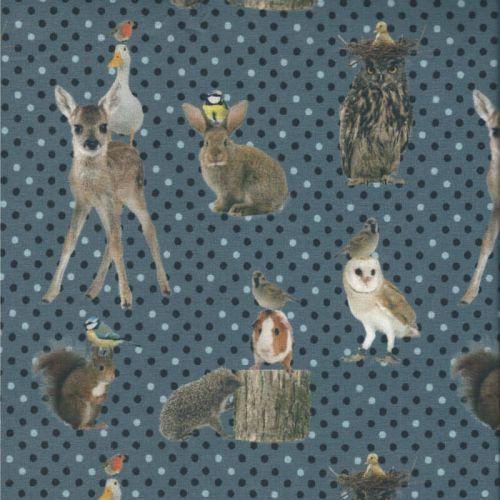 Tissu jersey animaux de la forêt pois fond bleu impression digitale