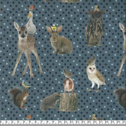 Jersey animaux forêt pois fond bleu
