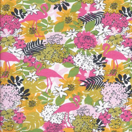 Tissu jersey Poppy tropical flamingo  95%cot/5%el larg 150 c