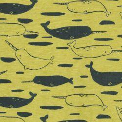 Tissu jersey Poppy unicorn narwhale 60%cot/35%pl/5%el larg 1