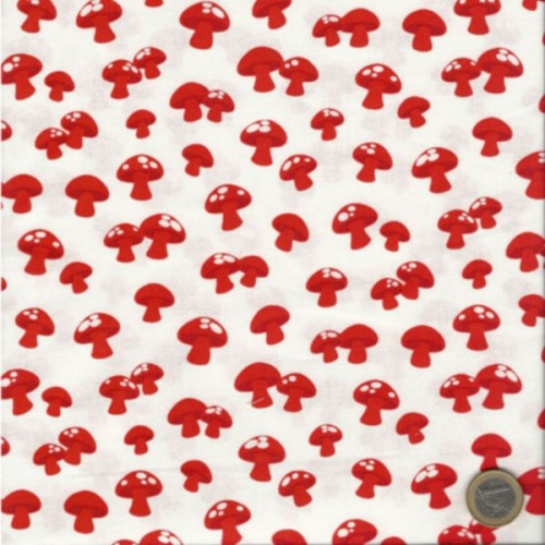 Tissu champignons fond blanc Robert Kaufman