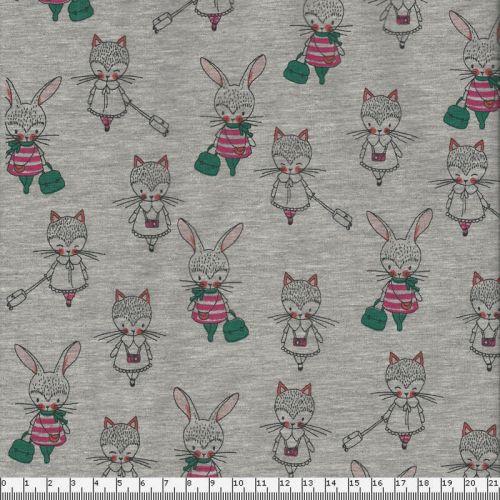 Tissu jersey lapins et chats fond gris Poppy