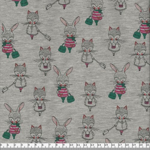 Tissu jersey Poppy  lapins/chats fond gris 60%cot/35%pol/5%e