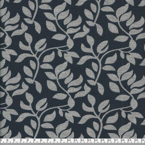 Tissu maille feuillage gris fond bleu m larg 150 cm 55%pol/4