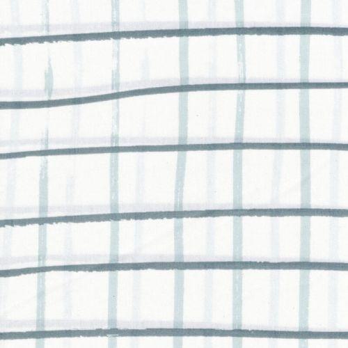 Tissu coton carreaux fond vert d'eau