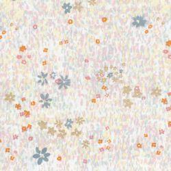 Tissu coton champ de fleurs dorées fond gris clair