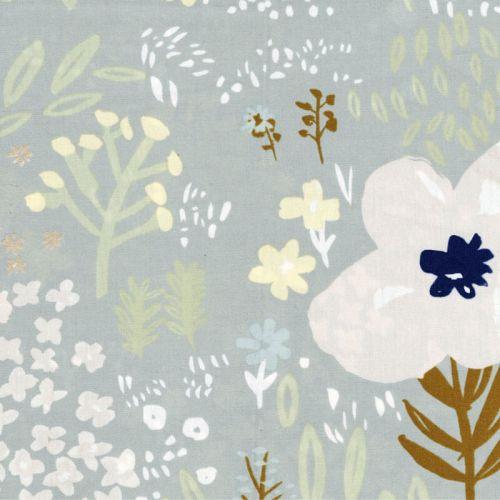 Tissu coton fleurs dorées fond vert d'eau