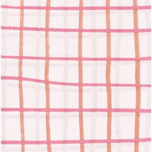 Tissu coton carreaux fond corail