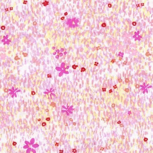 Tissu coton champ de fleurs dorées fond blanc
