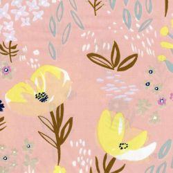 Tissu coton fleurs dorées fond corail