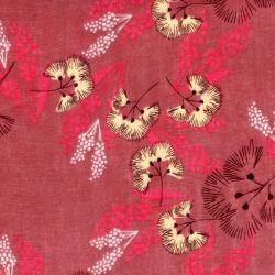 Tissu double gaze fleurs fond vieux rose