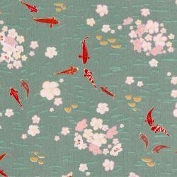 Tissu coton carpes Koi  dorées fond vert d'eau