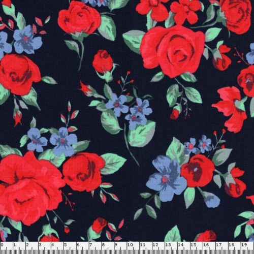 Tissu jersey roses anglaises fond bleu marine