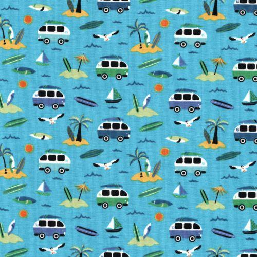 Tissu jersey vans fond bleu turquoise