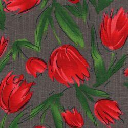 Tissu tulipes rouges fond gris façon lin