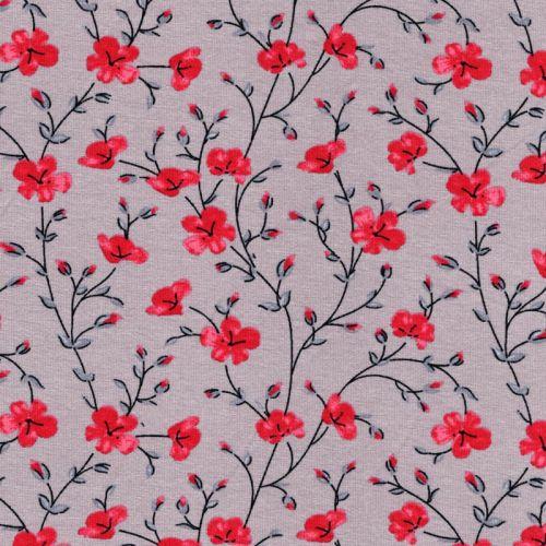 Tissu jersey fleurs rouges fond gris