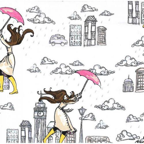 Tissu  Londres sous la pluie Michael Miller